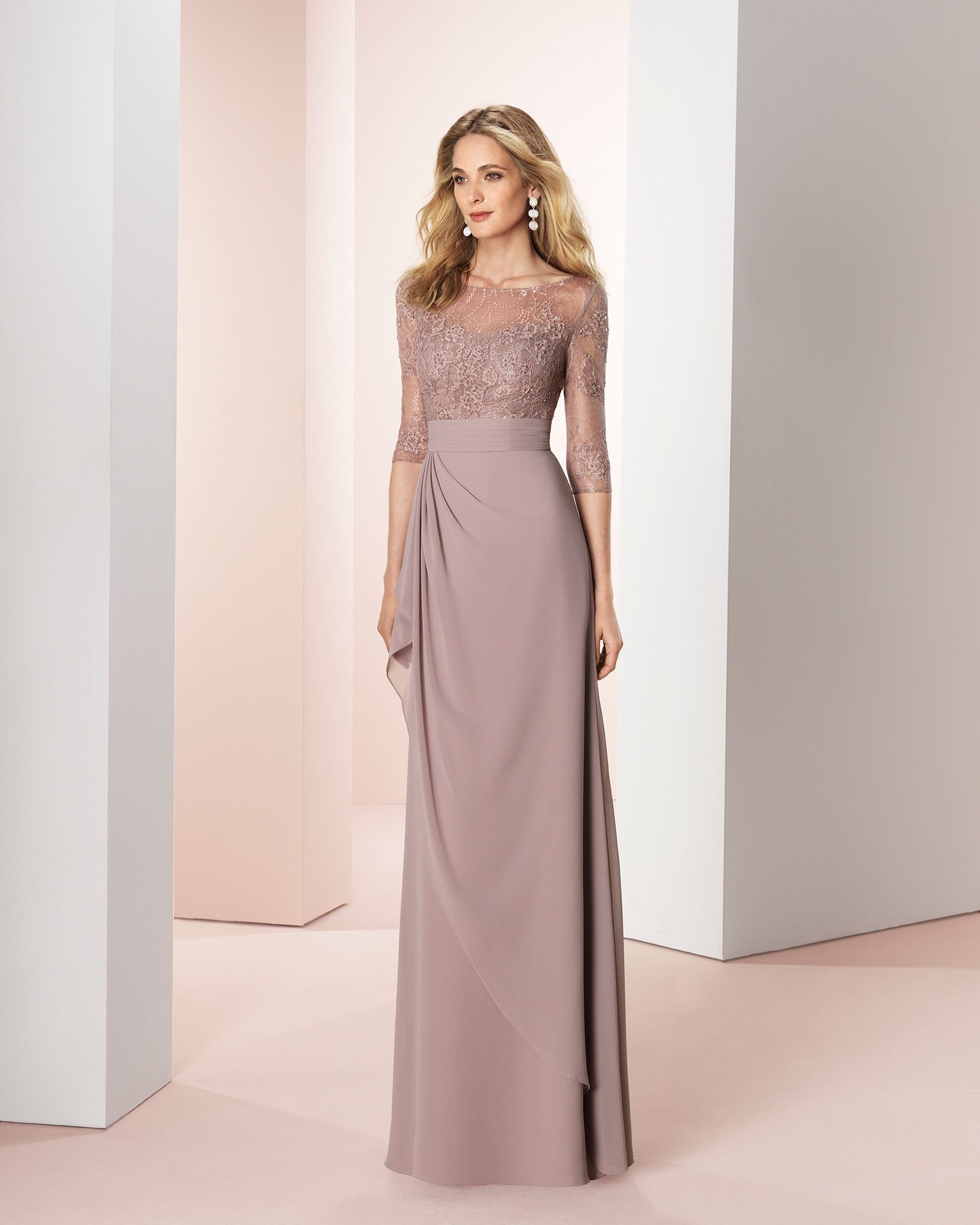 Long chiffon cocktail dress with beading and lace detailing on bodice. Available in mink,
