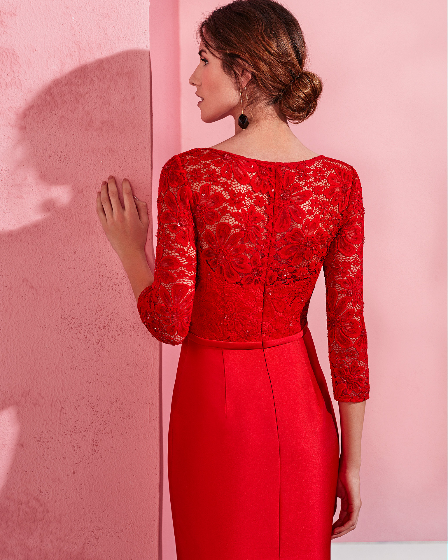 Excepcional Vestido De Fiesta Rojo Con Encaje Colección de Imágenes ...